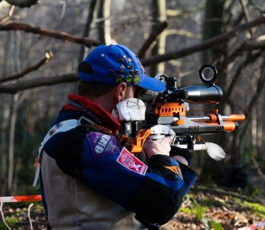 Neil Hague shooting at stander in Field Target